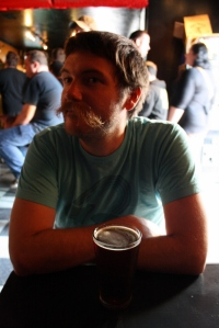 San Diego Beer Blog author Jeff Hammett with a pint of Liar's Brew ESB